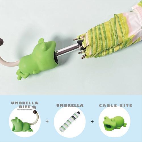 日本 UMBRELLA BITE Frog 青蛙3件套裝 (UMBRELLA BITE + 雨傘 + CABLE BITE)